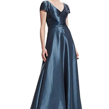 Theia - 882556 Short Sleeve Liquid Shine Evening Dress