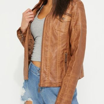 Brown Washed Faux Leather Moto Jacket