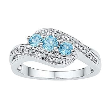 10kt White Gold Women's Round Lab-Created Blue Topaz 3-stone Diamond Ring 1/2 Cttw - FREE Shipping (US/CAN)