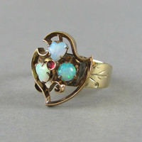 CUTE Victorian shield ring with heart cut opals and ruby, gold statement ring, right hanf ring.