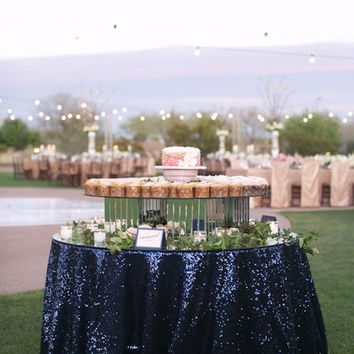 Black Sequin, Navy Blue Sequin, Table Runners, Metallic, Overlays,  Tablecloths.