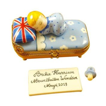 Archie Harrison Mountbatten Windsor Baby Sleeping Pacifier Plaque Limoges Boxes