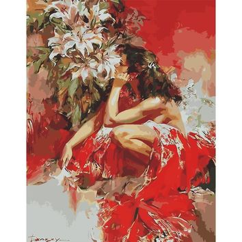 Hot Sell Painting coloring By Numbers Oil Picture DIY Handmade Wall Art Canvas Figure Paint Home Decor Woman  red dress
