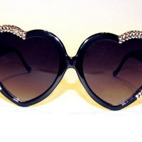 Black Sun glasses - Half-heart Swarovski? sunnies | UsTrendy