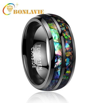 2018 newest 8mm wide electroplated black inlaid shells Opal dome tungsten steel wedding gift rings free shipping