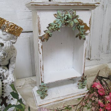 White shelf display shabby chic ornate wooden distressed embellished recycled home decor anita spero