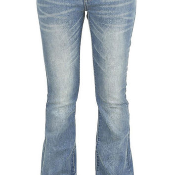 Mid-Waisted Zipper Fly Pocket Design Jeans