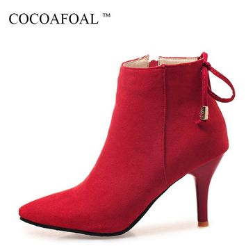 COCOAFOAL Woman Winter Red Chelsea Ankle Boots Plus Size 33 43 Black Butterfly Knot Martin Boots Fashion Sexy High Heeled Shoes
