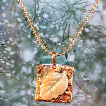 Raised Leaf with gold Square Pendant Necklace Polymer Clay OOAK