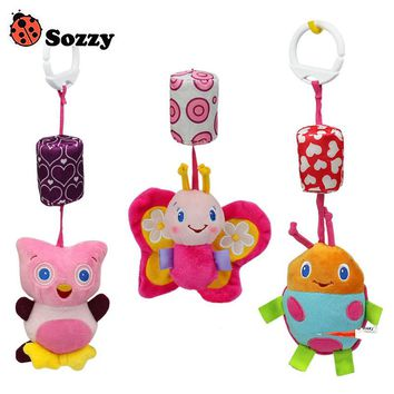 Sozzy Baby Soft Plush Toy Cartoon Animal Baby Rattle Ring Bell Crib Bed Stroller Hanging Doll brinquedos juguetes