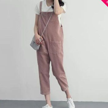 DCCKB62 Women Fashion Casual Corduroy Overall Capris Ladies Pink Overalls With Multi Pockets 2016 New Fashion Free Shipping