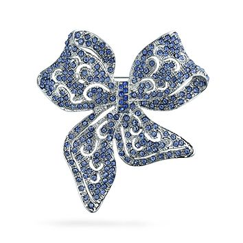 Vintage Style London Blue Crystal Ribbon Bow Pin Brooch Silver Plated
