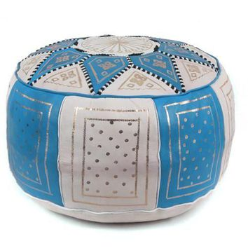 Blue / Beige Fez Moroccan Leather Pouf Round Genuine Leather