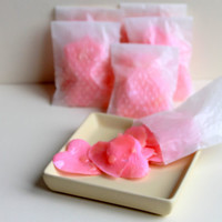 Pink silk heart rose petals dipped in organic passion pink soap