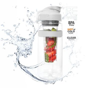 Rehydrate Pro Infuser Sports Bottle 32 Oz. Safe Clear Acrylic Infusion Water Bottle