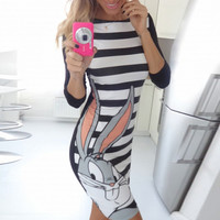 Stripe Bugs Bunny Print Mini Dress
