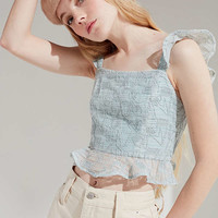 J.O.A. Cropped Flutter Top | Urban Outfitters