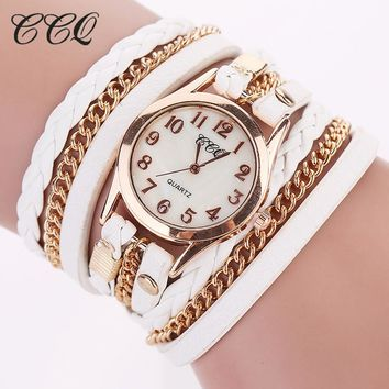 2017 CCQ Fashion Gold Chain Leather Bracelet Watch Women Casual Wrist Watch Analog Quartz Watch Clock Hour Relogio Feminino 1071