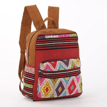 Ethno Backpack, Mochila, Oriental, Grunge, College Backpack, Traveler Bag, Library bag, Ethic Hand Woven Textiles
