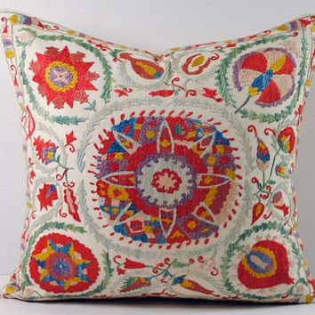 Handmade Suzani Pillow Cover nsp3-06, Suzani Pillow, Uzbek Suzani, Suzani Throw, Boho Pillow, Suzani, Decorative pillows, Accent pillows