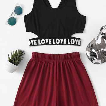 Letter Tape Hem Top With Shorts