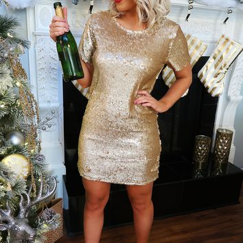 Pop The Champagne Dress: Gold