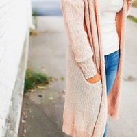 """the """"Weekender"""" Boucle Duster Cardigan - Blush - FINAL SALE"""