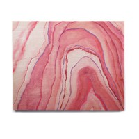 "Viviana Gonzalez ""Agate Watercolor Pink"" Pink White Abstract Contemporary Painting Watercolor Birchwood Wall Art"