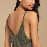 Way to My Heart Olive Green Tank Top