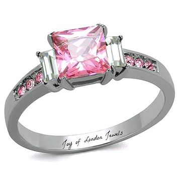2CT Princess Cut Pink Sapphire Russian Lab Diamond Ring