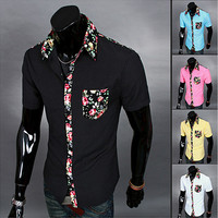 Floral Trimmed Short Sleeve Button Down