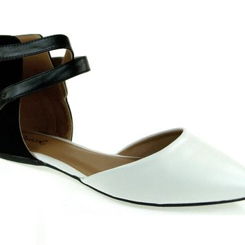 Women's Qupid Pointy Ankle Wrap Flat Shoes Pointer-70 White