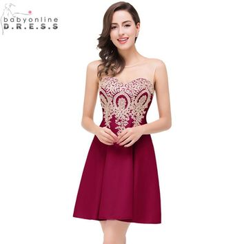 Robe de Soiree Courte Cheap Golden Lace Burgundy Short Prom Dresses 2017 Sexy Chiffon Summer Party Dress Vestido de Festa Curto