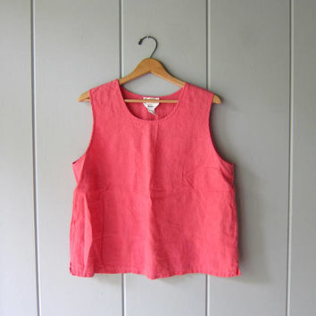 Pink Linen Tank Top 90s Modern Easy Tank Top Minimal Sleeveless Blouse Vintage Casual Summer Crop Top Boxy Linen Tank Womens Large