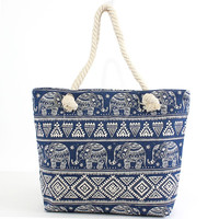 Elephant Blue and White Canvas Beach Tote Bag with Rope Handles - 17-1/2-in