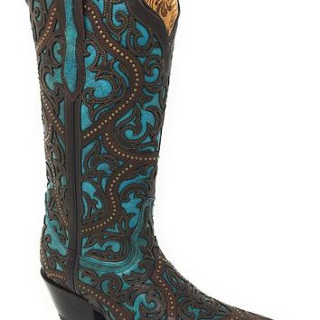 LMFYW3 Corral Brown & Turquoise Leather Overlay Snip Toe Boots G1415