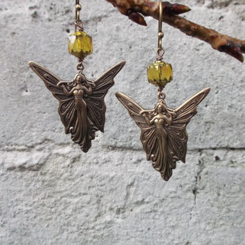 Art Nouveau style earrings, butterfly fairy, winged goddess, antiqued brass, olivine crystal glass beads, fairy earrings; UK seller