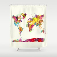 world map color art Shower Curtain by Jbjart