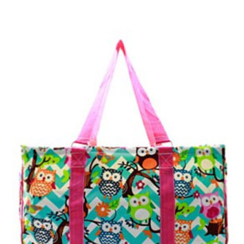 Utility Tote Large - Chevron Owl Print - 3 Color Choices