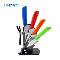 "4 color cooking tools kitchen knives set 3""4""5""6"" inch+Peeler+Acrylic Holder block ceramic knife paring knives free shipping"