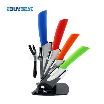 """4 color cooking tools kitchen knives set 3""""4""""5""""6"""" inch+Peeler+Acrylic Holder block ceramic knife paring knives free shipping"""