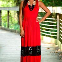 Keep Up The Lace Maxi, Red