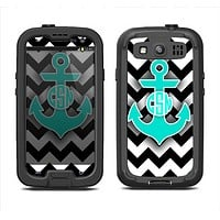 The Teal Green Monogram Anchor on Black & White Chevron Samsung Galaxy S3 LifeProof Fre Case Skin Set