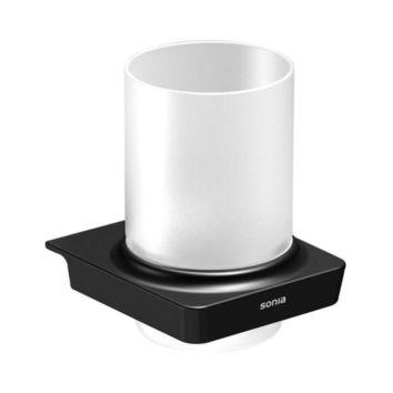 Sonia S6 Wall Mounted Frosted Glass Toothbrush Toothpaste Holder Tumbler, Brass