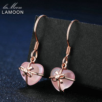 LAMOON 7X8mm 100% Natural Heart Pink Rose Quartz 925 Sterling Silver Jewelry Rose Gold Plated Drop Earrings S925 LMEI012