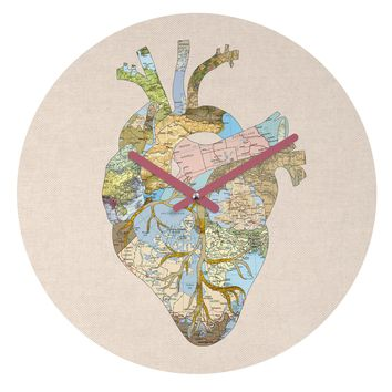 Bianca Green A Travelers Heart Round Clock