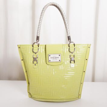 GIANNI VERSACE COUTURE Chartreuse ICONIC VINTAGE Quilted Shopper Tote Bag