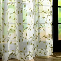 Embroidery Leaves Sheer Tulle Curtains For Living Room Window Screening Eyelets Sheer Voile Curtain Cortinas Rideaux CL-1