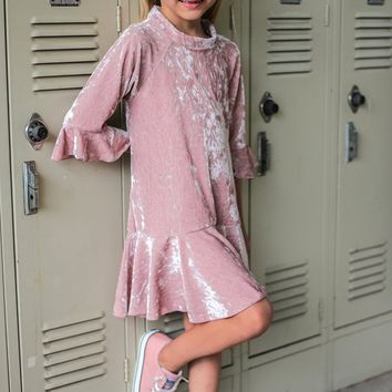 Rose Pink Velvet Girls Flounce Hem Dress w. 3/4 Ruffle Sleeves 4-14