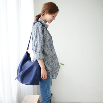 Fun Orange New Women Shirt Cotton Linen Slant Oblique Button Blue Floral Turn-down Collar Irregular